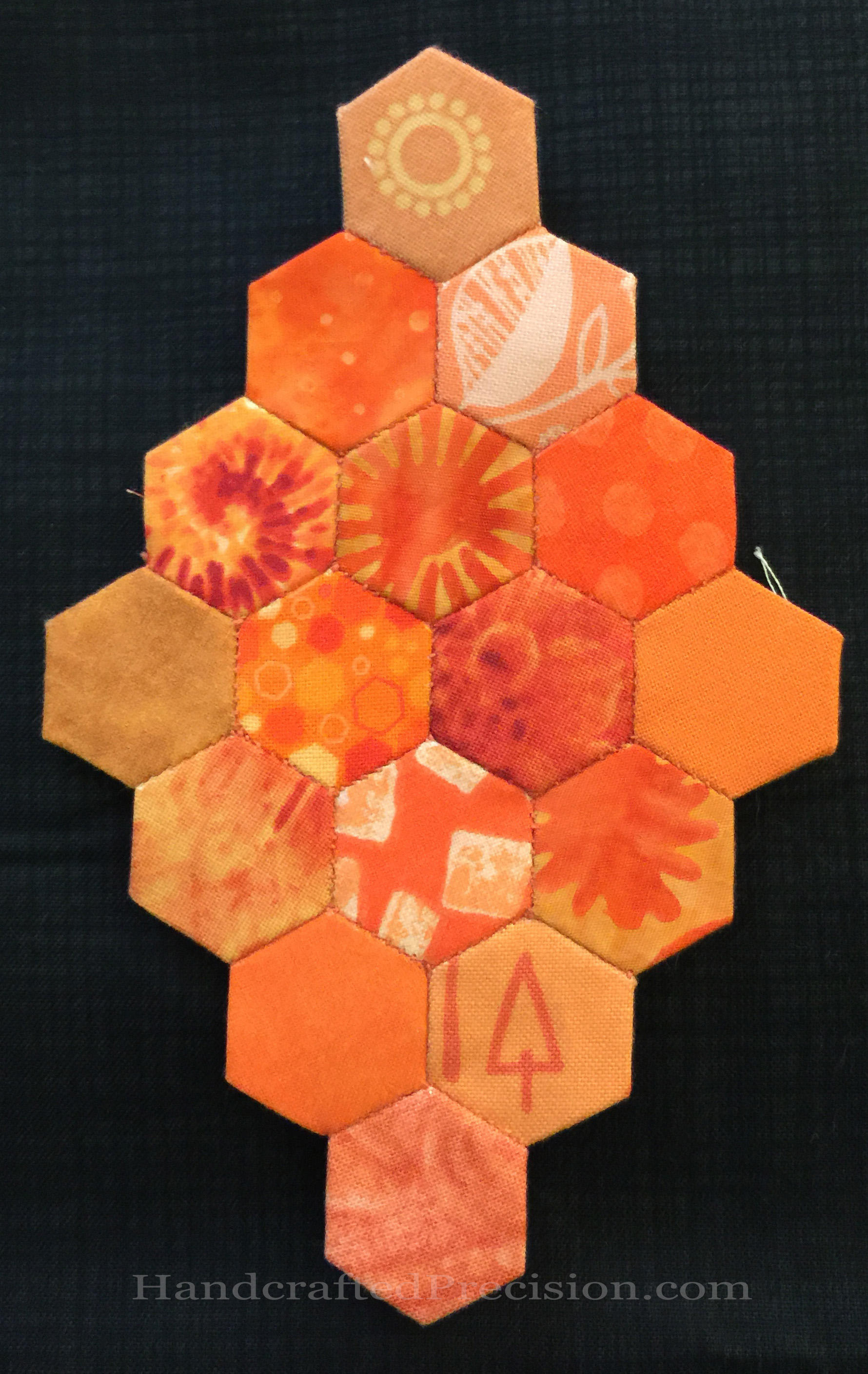 Orange Hexagon Diamond Front