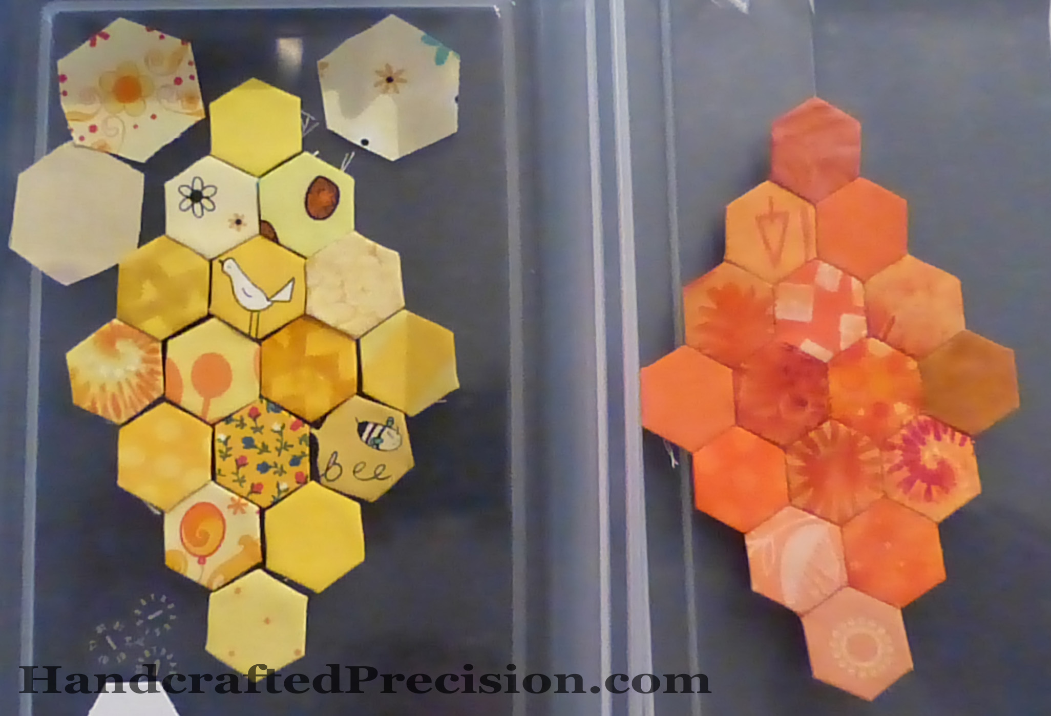 Yellow Hex Diamond Layout with Orange